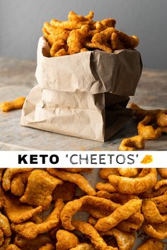 """Paleo & Keto Cheetos I can't get myself to eat pork rinds - will crush them for """"breading"""" but. Appetizer Recipes, Snack Recipes, Cooking Recipes, Dinner Recipes, Chili Recipes, Appetizer Ideas, Soup Recipes, Ketogenic Recipes, Low Carb Recipes"""