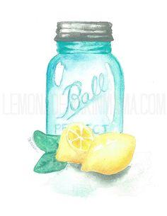 Antique ball jar and lemons Watercolor print Lemon Watercolor, Watercolor Print, Watercolor Paintings, Watercolors, Lemon Pictures, Painted Jars, Ball Jars, Paint Party, Chalk Art