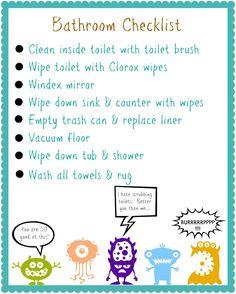 bathroom cleaning kit for kids {free printable bathroom cleaning