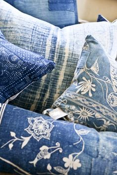 Blue and White Pillows - inspiration for couch