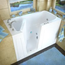 """MediTub 3060WILWH White 60"""" Fiberglass Whirlpool Walk In Tub for Alcove Installations with Left Drain, Drain Assembly, and Overflow Walk In Tubs, Walk In Bathtub, Bathtub Drain, Soaking Bathtubs, Whirlpool Bathtub, Jetted Bathtub, Jacuzzi, Roman Tub Faucets, Walk In Shower Designs"""
