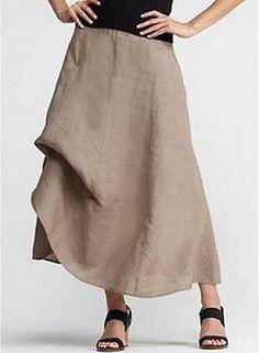 35de1ead1b8 Eileen Fisher Driftwood Brown Khaki Aline Ties Handkerchief Linen Skirt L   228