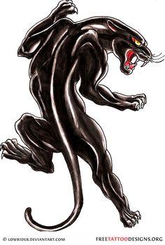 Old school black panther tattoo design