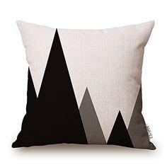 Elviros Linen Cotton Blend Decorative Geometric Design Zippered Throw Pillow Cover 18x18''