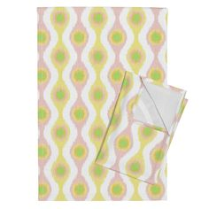 Ikat Stringed Beads Sherbert  on Orpington by wickedrefined | Roostery Home Decor You can also get this fabric in my spoonflower shop. #roostery #teatowel #homedecor #ikat #simple #modern #stripes #fabric #sherbet #orange #pink #yellow #green #pastel