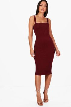 d11b5a37b933f Jen Square Neck Bodycon Midi Dress Lunch Date Outfit