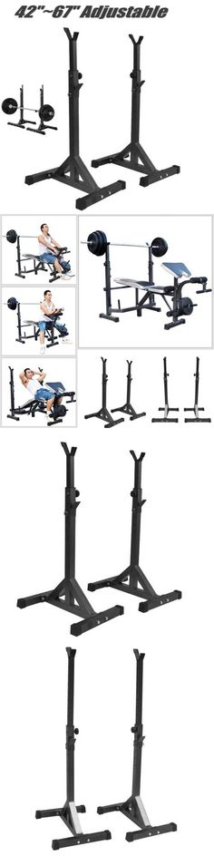 Other Strength Training 28067: Pair Squat Stands Barbell Adjustable Standard Solid Steel Press Bench Workout -> BUY IT NOW ONLY: $42.36 on eBay!