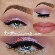 Valentine's Day Makeup Ideas: Shimmering Pink & Gold Eyeshadow with Pink Nude Lips | Tammy Hope Jansky #valentinesday #makeup #makeupideas