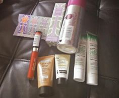 Fresca VoxBox products NYC Lip Laquer, Not Your Mother shampoo & conditioner Pure Silk Shave Cream, AirBrush Legs by Sally Hansen, JAFRA BLENDS fragrance- Blackberry Juniper Magnolia, JAFRA BLENDS 3 VIAL samples, and Healthy Skin boosters.