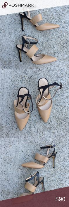 Banana Republic tan black strappy pointy toe heels These are a gorgeous pair or strappy pointy toe heels by Banana Republic. Pair them with a pair or gauchos, or treggings--instant work outfit. Brand new--never worn. Genuine leather. Banana Republic Shoes Heels