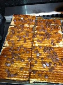 This is Grandma Roz's Chocolate and Carmel covered Matzah recipe... delish!  Perfect #Passover dessert.