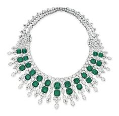 Emerald and diamond necklace by Harry Winston. Designed as a graduated double row of rectangular-cut emeralds, extending a pear and circular-cut diamond fringe, joined by circular and pear-shaped diamond clusters to the circular-cut diamond double row backchain, mounted in platinum, 1955, 14 ins. With maker's mark for Harry Winston.