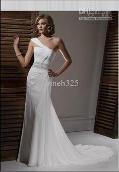 Ivory /Gossamer Chiffon/sweeping train/One-Shoulder Wedding Dress,