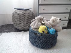 Crochet Storage Baskets - Large Storage Baskets- Eco Friendly Storage - Kids organizers - Housewares by LoopingHome on Etsy https://www.etsy.com/listing/169004835/crochet-storage-baskets-large-storage