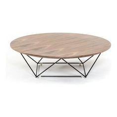 $395 houzz VIG Furniture - Modrest Spoke Modern Walnut Coffee Table - The geometric stainless steel legs create an airy yet sophisticated feel for the Spoke coffee table. The natural wood grain on the walnut circular top adds a soft texture, creating the ideal contrast to the sleek decorative metal legs. Pair with the Spoke walnut end table to complete the set.