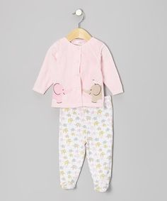 Love this Rumble Tumble Pink Elephant Cardigan & Footie Pants by Rumble Tumble on #zulily! #zulilyfinds