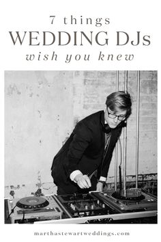7 Things Wedding DJs Wish You Knew | Martha Stewart Weddings - For DJs, there's a lot more to their job than just pressing start and stop on your wedding playlist. We asked Nguyen, owner of Los Angeles wedding DJ booking agency, Blackbook Social Club, and Dan Rosenbach, owner of San Francisco wedding DJ company, Love in the Mix, to share their secret pet peeves and best advice for couples getting married.