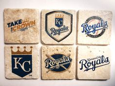 Kansas City Royals Baseball Coasters/Tiles Set by AndalusianLegacy