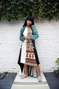 Susie Bubble wearing Marine Serre with Vans x & other stories slip ons #susielau #stylebubble