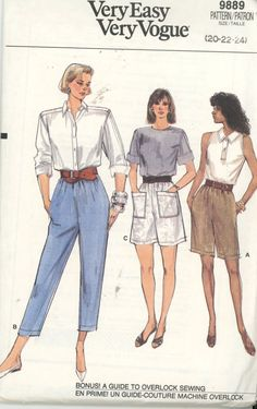 Vintage 1980s Vogue 9889 Sewing Pattern Misses Shorts or Pants Size 20-24 UNCUT - Sewing Patterns