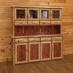 Genuine red cedar log buffet and hutch.  Shipped free to 48 states.