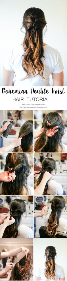 Bohemian Double Twist Hair Tutorial with blogger Sandy a la Mode, Hair Stylist @tanglezhmua and @livingproofinc products #YourBestHair