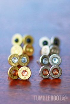 Move over diamonds, bullets are a girl's new best friend. These super cute earrings are handmade from real fired bullets, adding the perfect amount of bad-ass to whatever you pair them with. Cute Jewelry, Jewlery, Jewelry Accessories, Fashion Accessories, Jewelry Ideas, Diy Jewelry, Bullet Earrings, Cute Earrings, Stud Earring