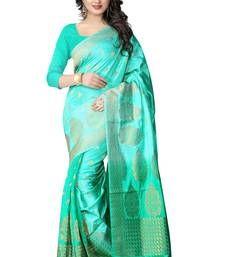 Buy Sea green hand woven banarasi silk saree with blouse banarasi-silk-saree online
