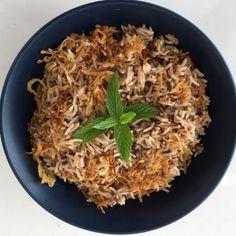 LENTIL RICE PILAU Crispy Onions, Caramelized Onions, Brown Lentils, Vegetable Curry, Tasty, Yummy Food, Vegan Friendly, Coriander, Rice