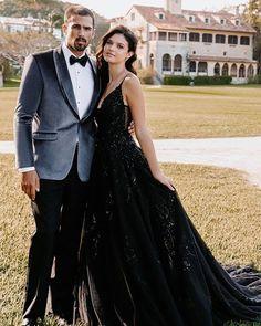 24 Black Wedding Dresses With Edgy Elegance ❤ black wedding dresses a line with spaghetti straps allurebridals #weddingforward #wedding #bride #weddingoutfit #bridaloutfit #weddinggown