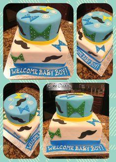 Mustache & Bow Tie baby shower cake!