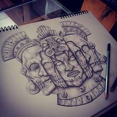 #prehispánico #art #arte #guerrero #jaguar #muerte #cráneos #fases #vida #maya #piedra #lápiz