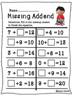 Missing Addends 1 10
