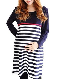 Cosy Blue Stripe Crewneck Long Sleeves Oversized Cotton Blend Maternity Dress. Get awesome discounts up to 70% Off at Milanoo using Coupon & Promo Codes.