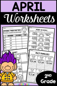 April Math Worksheets - 2nd Grade - Use these printable worksheets to help add rigor to your daily math routine. You get 44 pages of extra math practice. They're great for morning work, seat work, review, test prep, early or fast finishers, homework, and more. Skills include 3 Digit Addition with Regrouping, 3 Digit Subtraction without Regrouping, 3 Digit Addition with Regrouping, Arrays, Counting Money, Skip Counting and Multiplication AND MORE! {first graders, homeschool, home school}