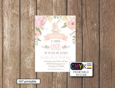Some Bunny Turns One, First Birthday Printable Invitation, Bunny Birthday Invitation, Flower Bunny Invite, Light Pink Invite by Cmykprintabledesign on Etsy https://www.etsy.com/listing/450832122/some-bunny-turns-one-first-birthday