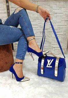 Blue jeans and shoes and bag Fashion Handbags, Purses And Handbags, Fashion Bags, Louis Vuitton Shoes, Vuitton Bag, Shoe Boots, Shoes Heels, Shoe Bag, Zapatillas Louis Vuitton