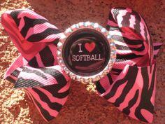 I love Softball hot pink zebra hair bow. $5.50