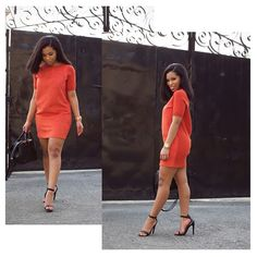 Summer Spring Fashion Outfits Orange Dress High Heel Sandals Style Trend Fashionista Stylish Youtuber Makeup Artist Blogger Shirley B. Eniang