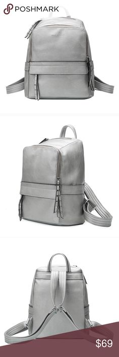 Lacey Backpack in Silver Premium Vegan Leather Melie Bianco Lacey Backpack in Silver Premium Vegan Leather Top Zipper Top Compartment Front Zipper Pocket Interior Slim Pockets Interior Zipper Pocket Polka Dot Interior Lining  Dimensions: 9.5H x 12L x 6W Melie Bianco Bags Backpacks