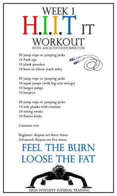 HIIT Workout Week 1 Check out my post to learn more about HIIT and to watch my video - A Healthy Life For Me