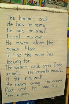 Hermit crab poem from Growing in Pre K Ocean Activities, Therapy Activities, Ocean Poem, Classroom Pets, Classroom Design, Ocean Projects, Ocean Crafts, Fish Crafts, Ocean Unit