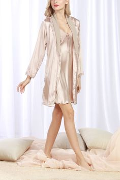4Ping Women s Lace Satin Two-piece Sling Dress Bathrobes Tracksuit Robe Set  Beige at Amazon Women s Clothing store  b7fea949d