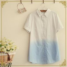 Fairyland - Short-Sleeve Contrast Color Shirt
