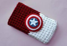 captain america crocheted iphone case :)