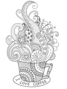 coffee cup zentagle coloring page