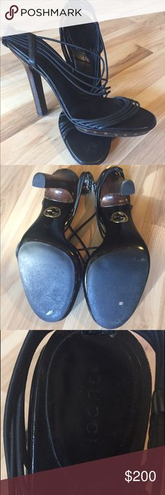 Gucci heels Size 7B Absolutely adorable heels. The black bands are re-enforced elastic for comfort. As you can see in the picture they are too small. 😔 But I still love then it's just time to say goodbye. I hope they will make someone very happy. Gucci Shoes Heels