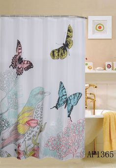 "LUXURY FABRIC SHOWER CURTAIN, BIRD AND BUTTERFLY DESIGN, 70""x70"", CARDINAL #KashiHome #Modern"
