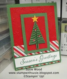 Stampin' Up!- a clean & simple Christmas card using the 'Festival of Trees' & coordinating Tree Punch!