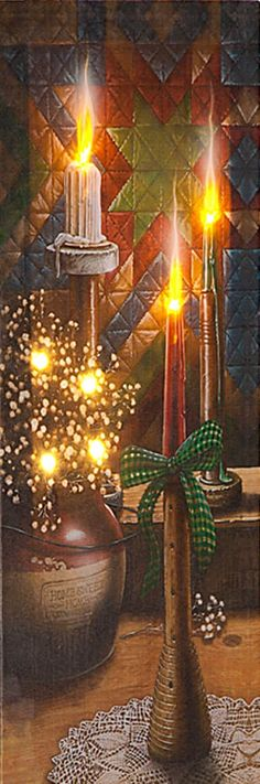 """StarBright Doug Knutson Crock Candles Country  Print  7/"""" x 19/"""""""